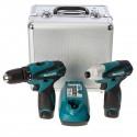 Set de atornilladores DF330D + TD090D c/ caja aluminio Makita LCT204
