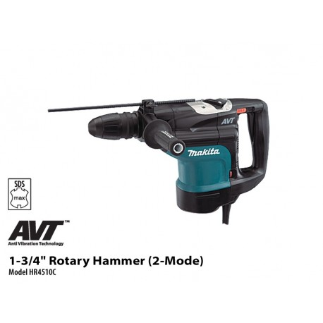Makita Martillo Rotativo SDS-MAX 45 mm. 1.350 W. Cod HR4510C