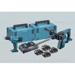 Set Rotomartillo DHR263 + Taladro Atornillador DDF453 + 4 Baterías + Cargador Makita DLX2093PMJ