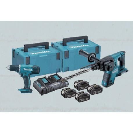 Makita Set Rotomartillo DHR263 + Taladro Atornillador DDF453 + 4 Baterías + Cargador. Cod DLX2093PMJ