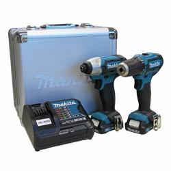 Kit Taladro Atornillador 12V 10 mm DF330 + Atornillador de Impacto 12V 110 Nm TD110 Makita CLX201SAX