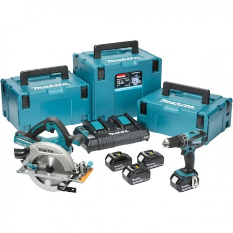 Kit Taladro Atornillador DDF453 + Sierra Circular DHS710 + 4 Bat + Cargador doble + Disco Sierra Makita DLX2103PMJ
