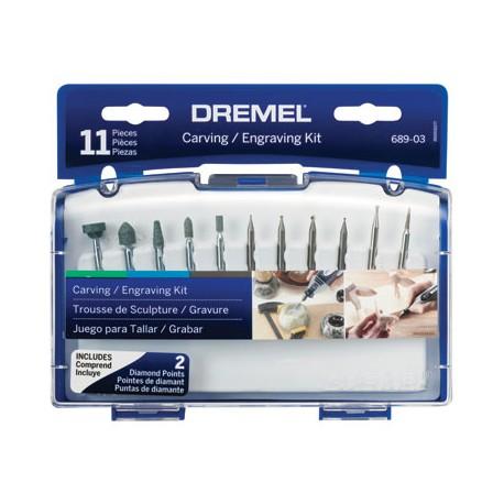Kit 11 acc grabado y tallado Dremel 689