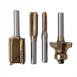 "Set 4 Fresas (3 Rectas 1/4-3/8-3/4"" y media caña 1/4"") Makita P-24876"