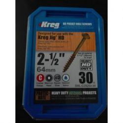 Tornillos HD (alta resistencia) para orificios ocultos de guías Kreg®- 30 uni. Kreg SML-C2X250-30