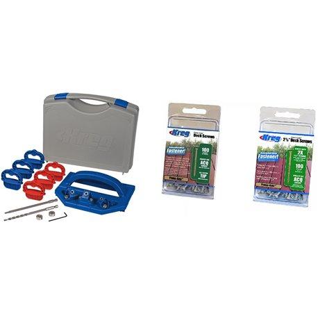 """Kit Carpintería Guía para instalar Terrazas + 100 Tornillos Hilo Grueso 2"""" + 100 Tornillos Hilo Grueso 2-5/8"""" Kreg Kit 12"""