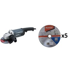 "MT Esmeril Angular 7"" (180 mm) 2.200W + 5 Discos de Corte Metal Makita M0920G + B-46420"